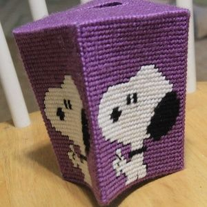 Other - Snoopy plastic canvas tissue cover HANDMADE